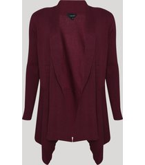 capa de tricô feminina assimétrica vinho