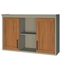 armário camponesa 2 portas nicho nesher cinza/caramelo
