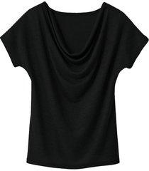 shirt met watervalhals, zwart 36/38