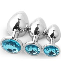 3pcs redondo convencional plug anal grande con traje de medianos y pequeños diamantes-light blue