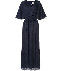 ingie paris lurex kaftan long dress - blue