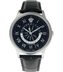 versace men's automatic stainless steel & leather-strap watch