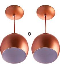 kit 2 lustres pendente bola pequena alumãnio 15cm cobre - cobre - dafiti