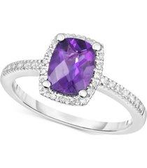 amethyst (1-1/4 ct. t.w.) & diamond (1/8 ct. t.w.) ring in 14k white gold (also in blue topaz, peridot & rhodolite garnet)