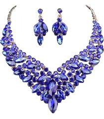 conjunto brinco e colar liage pedraria metal pedras cristais azul escuro dourado