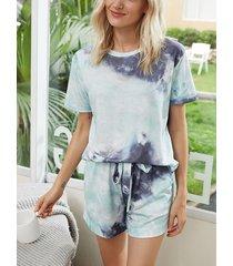 conjunto de pijama con cintura de cordón y manga corta con efecto tie dye