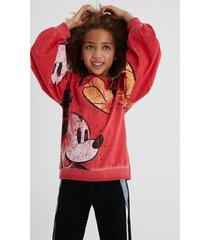 worn mickey mouse sweatshirt - red - 13/14