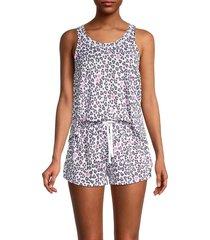 kensie women's 2-piece print pajama set - cheetah - size m