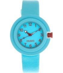 crayo unisex equinox cerulean leatherette strap watch 40mm