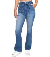 almost famous juniors' paperbag tie-waist flare-leg jeans