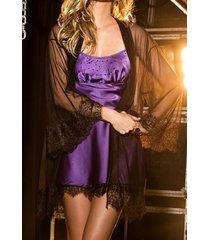 camisola de cetim lilás com strass e renda transparenze de chelles