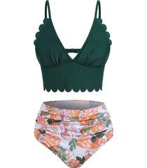 low cut floral print scalloped tankini swimwear