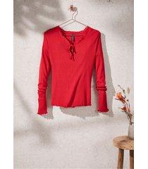 maglia a maniche lunghe a costine con laccetti (rosso) - rainbow