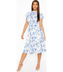 floral high neck belted midi skater dress, blue