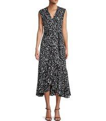 rebecca taylor women's leopard midi wrap dress - black combo - size 6