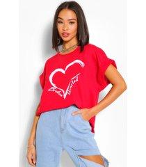 broken hearted batwing sweat top, red