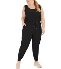 ideology plus size drawstring-waist sleeveless jumpsuit, created for macy's