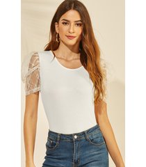 yoins white lace round cuello camiseta con mangas abullonadas