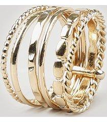 anel feminino sêxtuplo texturizado dourado