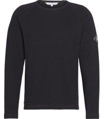 waffle monogram sleeve slim t-shirt l/s negro calvin klein