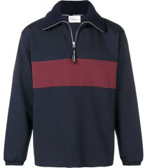 drôle de monsieur zip up sweater - blue