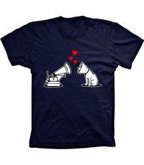 camiseta lu geek manga curta amor de cão azul marinho