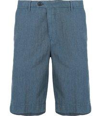 corneliani chino chambray bermuda shorts - blue