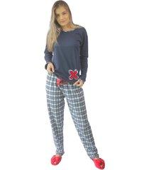 pijama longo cia da seda moletinho xadrez