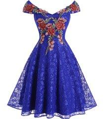 flower applique lace off shoulder foldover dress