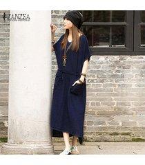 zanzea verano dresss ocasional de las mujeres de lino de algodón vestido de split asimétrico maxi largo vestidos más el tamaño s-5xl (marina) -azul
