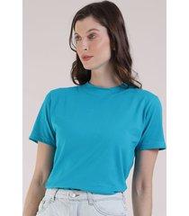 t-shirt feminina mindset manga curta decote redondo azul 1