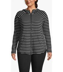 lane bryant women's active zip-front hooded sweatshirt 26/28 black and white