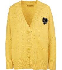 ermanno scervino yellow maxi cardigan in solid color cashmere blend