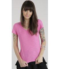 blusa básica flamê rosa escuro