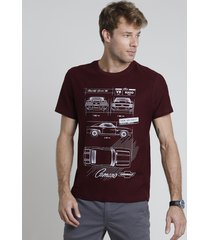camiseta masculina chevrolet camaro manga curta gola careca vinho