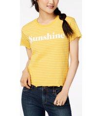 love tribe juniors' lettuce-edge sunshine-graphic t-shirt