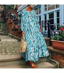 zanzea plus s-5xl vestido largo largo con cuello redondo para mujer kaftan tops vestido estampado floral -azul