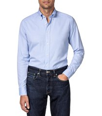 eton soft casual line slim fit oxford shirt, size 16.5 in blue at nordstrom