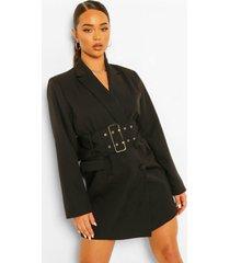 getailleerde oversized blazer jurk met grote riem, black