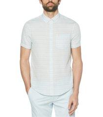 original penguin men's printed stripe woven short sleeve shirt