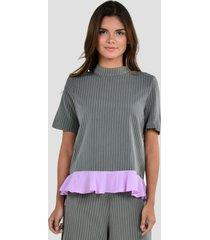 blusa estampado de mujer exotik ew172-1102-844 gris