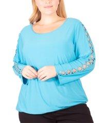 ny collection plus size rhinestone-lattice-sleeve top