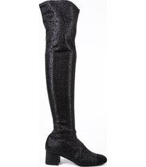 chanel black glitter suede cap toe block heel over the knee boots black/metallic sz: 5