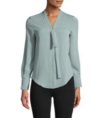 avantlook women's tie collar top - green - size s