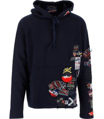 paul & shark by g.lauren designer sweatshirts, midnight blue cotton men's hoodie