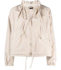 aspesi ruffled-neck lightweight jacket - neutrals