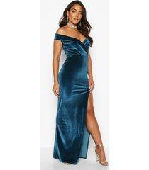 velvet bardot maxi dress, teal