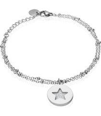 bracciale in acciaio rodiato con charm stella con glitter per donna