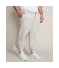 calça de sarja masculina plus size jogger skinny bege claro
