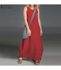 zanzea vestido sin mangas de verano sin mangas para mujer vestido largo con hombros descubiertos camisa de vestir larga plus -rojo